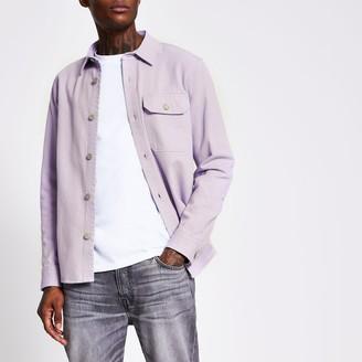 River Island Mens Purple long sleeve denim overshirt