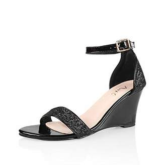 AIIT Women's Wedge High Heel Sandals 1920s Gatsby Style Sparkling Ankle Strap Sequin Block Pumps with Buckle Fashion Formal Dress Party Prom Bride Sexy Shoes for Women Size 8