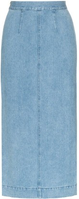 Mara Hoffman Uma two-tone denim pencil skirt