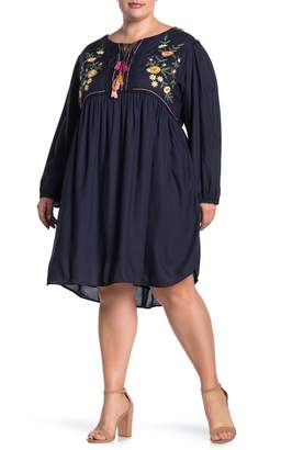 Angie Embroidered Tie Front Shift Dress (Plus Size)