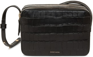 Mansur Gavriel Croc Embossed Double Zip Crossbody - Black