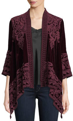 Johnny Was Petite Hirsch Embroidered Velvet Draped Cardigan