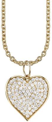 Sydney Evan Large Diamond Pave Heart Pendant Yellow Gold Necklace