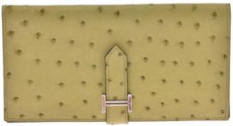 Hermes Green Ostrich Leather Bearn Gusset Long Wallet