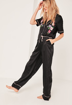 Missguided Black Satin Floral Embroidered Pajama Set