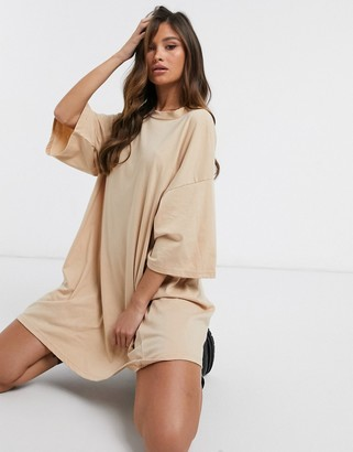 ASOS DESIGN oversized T-shirt dress in camel