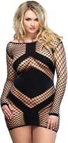 Leg Avenue Women's Plus Size Diamond Net Long Sleeved Mini Dress