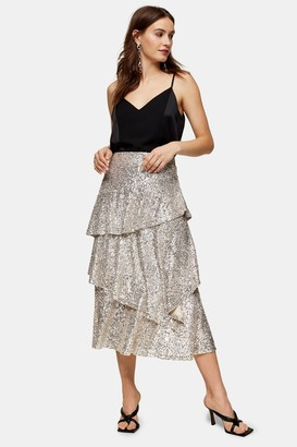 Topshop Womens Silver Sequin Tiered Midi Skirt - Silver