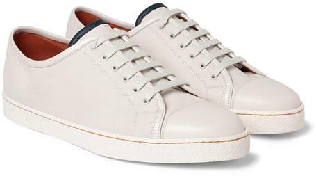 John Lobb Levah Cap-Toe Brushed-Leather Sneakers - Neutral