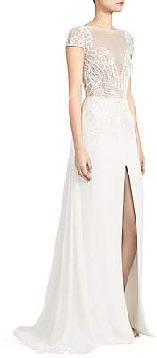 ZUHAIR MURAD Women's Dragon Lace Long-Slit A-Line Gown