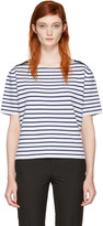 Burberry Navy and White Striped Riverpaiave T-shirt
