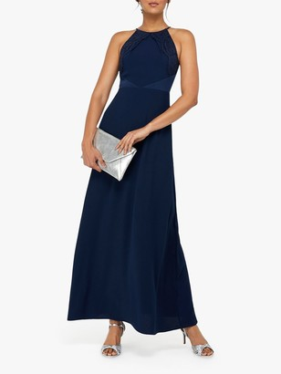 Monsoon Harriet Halterneck Maxi Dress, Navy