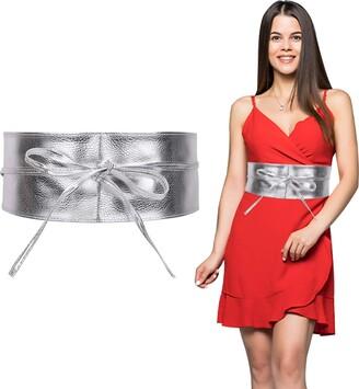 Trimming Shop Women's Obi Belt Soft PU Leather Waist Belt Bow Tie Wrap Around Cinch Bowknot Fashion Waistband for Wedding Dresses Party Wear 95mm Wide