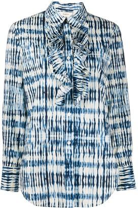 Barena Ruffled Bib Tie-Dye Print Shirt