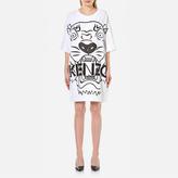 Kenzo Women's Crepe Back Satin Tiger TShirt Dress - White
