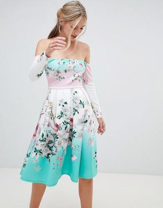 Bardot Asos Design ASOS DESIGN Ombre Floral Print Midi Prom Dress-Red