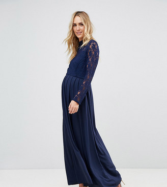 Queen Bee Maternity Over Lace Top Maxi Dress With Open Back