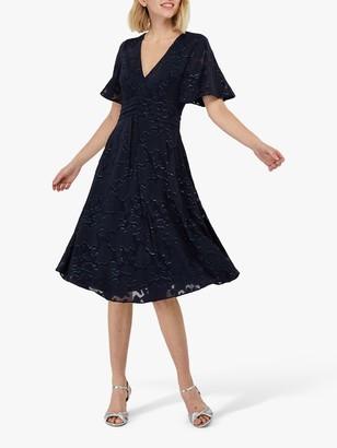 Monsoon Laurina Printed Midi Dress, Navy