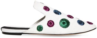 10mm Sirmione Embroidered Canvas Mules