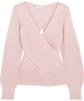 Tome Wrap-effect Ribbed Wool Sweater - Blush