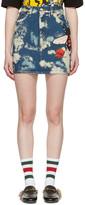 Gucci Blue Denim Patches Miniskirt