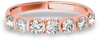 Lucid Styles 14K Gold 0.77 CT Round Cut Bold Bar Set Diamond Wedding Ring