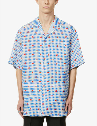 Gucci Branded gingham-print linen shirt