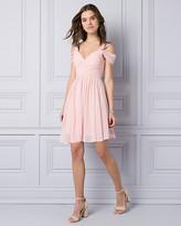 Le Château Crepe de Chine Cold Shoulder Party Dress