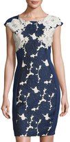 Jax Jacquard Appliqué-Panel Dress, Blue Pattern