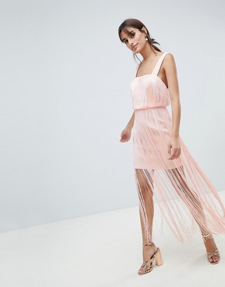 ASOS DESIGN Fringe Square Neck Scuba Midaxi Dress