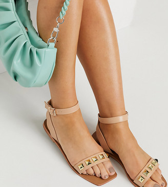 London Rebel Wide Fit square toe studded two-part flat sandals in beige