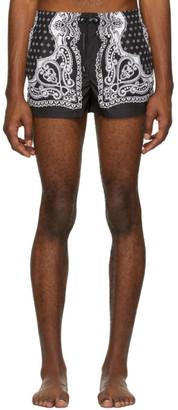 Dolce & Gabbana Black and White Bandana Swim Shorts