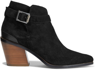 Rag & Bone Ramone Buckled Leather-trimmed Suede Ankle Boots