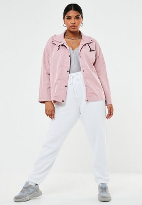 Missguided Plus Size Pink Button Up Hooded Mac Jacket