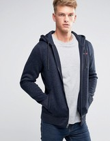 Abercrombie & Fitch Zipthru Hoodie Logo Applique In Navy