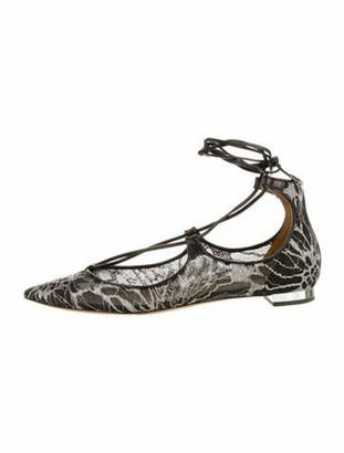 Aquazzura Lace Pattern Ballet Flats Black