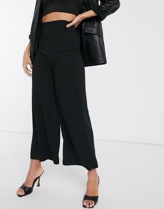 Stradivarius wide leg tailored pant in black