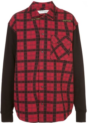 Off-White Contrast Sleeves Checked Shirt