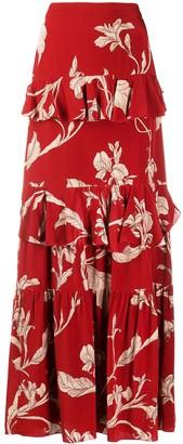 Johanna Ortiz Ruffled Maxi Floral Dress