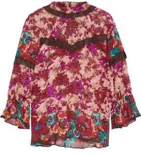 Anna Sui Ruffle-Trimmed Floral-Print Silk-Georgette Blouse