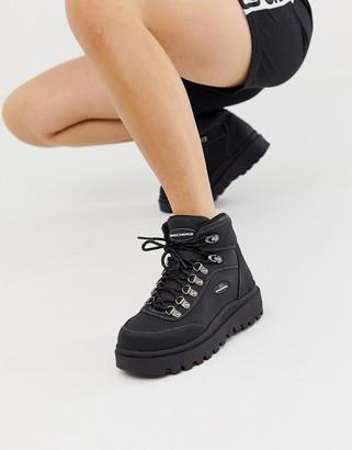 Skechers Shindigs 7 eye Hiker Boot-Black