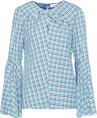 Prabal Gurung Twist-front Checked Cotton Shirt