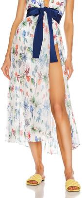 Silvia Tcherassi Blanche Skirt Pareo in Multi Palm Leaf | FWRD