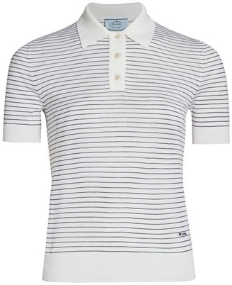 Prada Striped Wool Polo T-Shirt