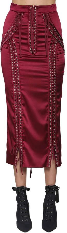 Dolce & Gabbana Lace-Up Stretch Satin Pencil Skirt