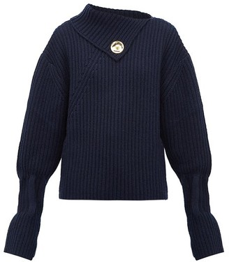 J.W.Anderson Draped-neckline Ribbed Wool-blend Sweater - Womens - Navy