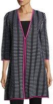 Misook 3/4-Sleeve Grid-Print Knit Jacket, Black Pattern