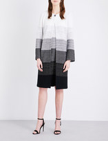 St. John Degradé-pattern tweed coat