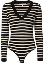 Veronica Beard Striped V-Neck Bodysuit