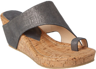 Donald J Pliner Gyer Asymmetrical Leather Wedge Sandal